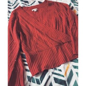 Christopher & Banks faux Wrap Sequin sweater